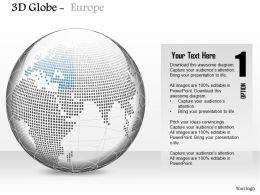 0914 Business Plan 3d Binary Globe With Europe Highlighted In Blue PowerPoint Presentation Template