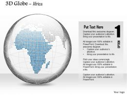 0914 Business Plan 3d Blue Color Africa Highlighted Binary Globe PowerPoint Presentation Template