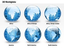 0914 Business Plan 3d Blue Glossy Continents Specialized Globes PowerPoint Presentation Template