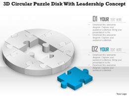 0914 Business Plan 3d Circular Puzzle Disk With Leadership Concept Powerpoint Template