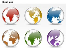 0914 Business Plan 3d Colorful Particular Location Globes PowerPoint Presentation Template
