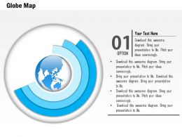 0914 Business Plan 3d Globe In Semi Circle Disks Diagram PowerPoint Presentation Template
