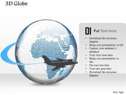 0914 Business Plan 3d Globe With Aircraft Flying Around It PowerPoint Presentation Template