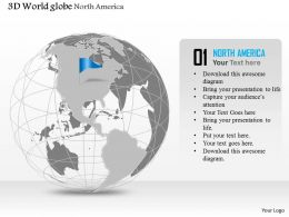 0914 Business Plan 3d Globe With Blue Flag On North America PowerPoint Presentation Template