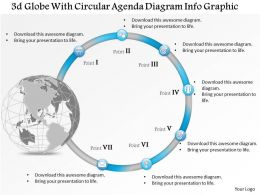 0914 Business Plan 3d Globe With Circular Agenda Diagram Info Graphic Powerpoint Presentation Template