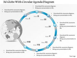 0914 Business Plan 3d Globe With Circular Agenda Diagram Powerpoint Presentation Template