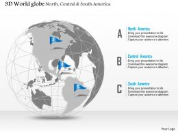 0914 Business Plan 3d Globe With Flags On North Central And South America PowerPoint Presentation Template