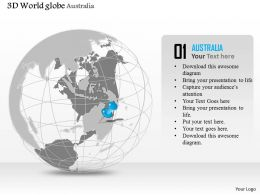 0914 Business Plan 3d Globe With Location Pin On Australia PowerPoint Presentation Template