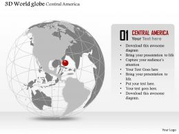 0914 Business Plan 3d Globe With Location Pin On Central America PowerPoint Presentation Template