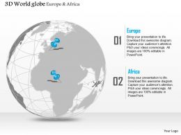 0914 Business Plan 3d Globe With Location Pins On Europe And Africa PowerPoint Presentation Template