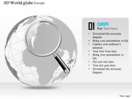 0914 Business Plan 3d Globe With Magnifying Glass On Europe Africa PowerPoint Presentation Template