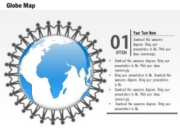 0914 Business Plan 3d Men Surrounding Globe For Unity PowerPoint Presentation Template