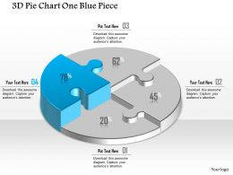 0914 Business Plan 3D Pie Chart One Blue Piece Powerpoint Template