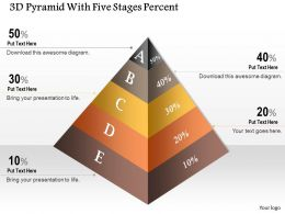 0914 Business Plan 3D Pyramid With Five Stages Percent Powerpoint Template