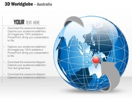 0914 Business Plan 3d World Globe Enclosed In Arrow Location Icon PowerPoint Presentation Template