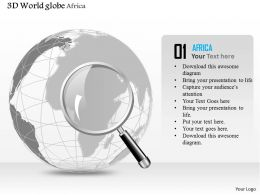 0914 Business Plan 3d World Globe Magnifying Glass On Africa PowerPoint Presentation Template
