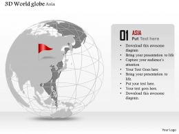 0914 Business Plan 3d World Globe Red Flag On Australia PowerPoint Presentation Template
