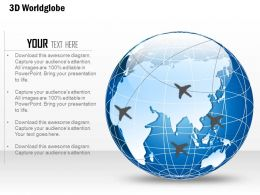 0914 Business Plan 3d World Globe With Location Icon And Pins PowerPoint Presentation Template