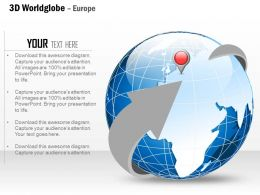 0914 Business Plan 3d World Globe With Location Icon Europe PowerPoint Presentation Template