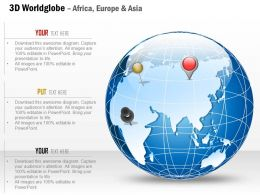0914 Business Plan 3d World Globe With Location Icon On Africa Europe Asia PowerPoint Presentation Template
