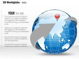 0914 Business Plan 3d World Globe With Location Icon On Asia PowerPoint Presentation Template