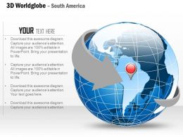 0914 Business Plan 3d World Globe With Location Icon On South America PowerPoint Presentation Template
