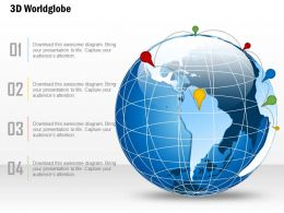 0914 Business Plan 3d World Globe With Location Icons Line PowerPoint Presentation Template