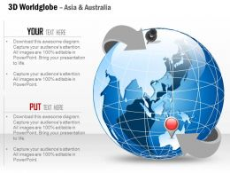 0914 Business Plan 3d World Globe With Location Pins On Asia And Europe PowerPoint Presentation Template