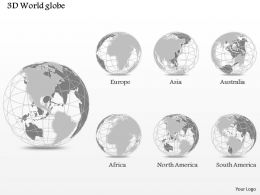 0914 Business Plan 3d World Globe With Small Area Highlighted Globes PowerPoint Presentation Template
