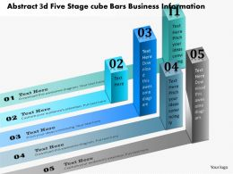 0914 Business Plan Abstract 3d Five Stage Cube Bars Business Information Ppt Presentation Template