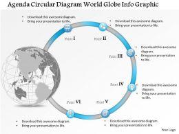 0914 Business Plan Agenda Circular Diagram World Globe Info Graphic Powerpoint Presentation Template