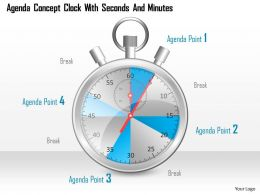 0914 Business Plan Agenda Concept Clock With Seconds And Minutes Powerpoint Template