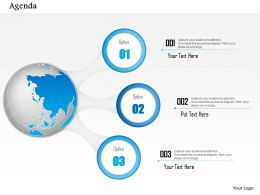 0914 Business Plan Agenda Diagram With Globe And Three Icon Points Powerpoint Presentation Template