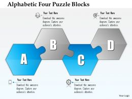 0914 Business Plan Alphabetic Four Puzzle Blocks Powerpoint Presentation Template