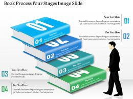 0914 Business Plan Book Process Four Stages Image Slide Powerpoint Presentation Template