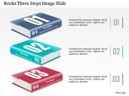 0914 Business Plan Books Three Steps Image Slide Powerpoint Presentation Template
