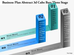 0914 Business Plan Business Plan Abstract 3d Cube Bars Three Stage Powerpoint Presentation Template