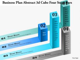 0914 Business Plan Business Plan Abstract 3d Cube Four Stage Bars Powerpoint Presentation Template