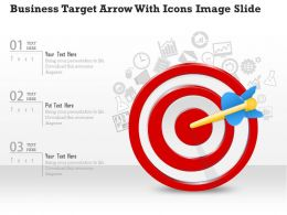 0914 Business Plan Business Target Arrow With Icons Image Slide Powerpoint Template
