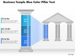 0914 Business Plan Business Temple Blue Color Pillar Text Powerpoint Presentation Template