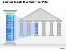 0914 Business Plan Business Temple Blue Color Text Pillar Powerpoint Presentation Template