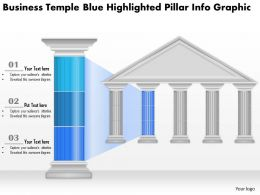 0914 Business Plan Business Temple Blue Highlighted Pillar Info Graphic Powerpoint Presentation Template