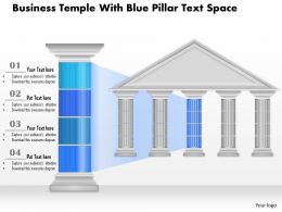 0914 Business Plan Business Temple With Blue Pillar Text Space Powerpoint Presentation Template