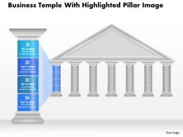 0914 Business Plan Business Temple With Highlighted Pillar Image Powerpoint Presentation Template