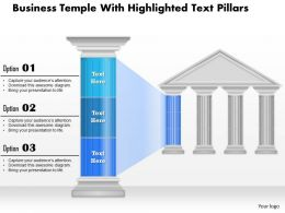 0914 Business Plan Business Temple With Highlighted Text Pillars Powerpoint Presentation Template