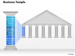 0914 Business Plan Business Temple With Pillar Blue Color Text Powerpoint Presentation Template