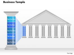 0914 Business Plan Business Temple With Pillar Text Powerpoint Presentation Template