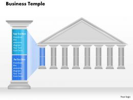 0914 Business Plan Business Temple With Pillar Text To Show Pillars For Business Powerpoint Presentation Template