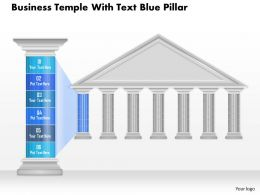 0914 Business Plan Business Temple With Text Blue Pillar Powerpoint Presentation Template