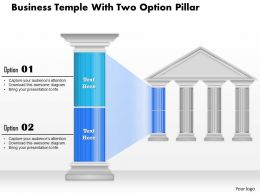0914 Business Plan Business Temple With Two Option Pillar Powerpoint Presentation Template